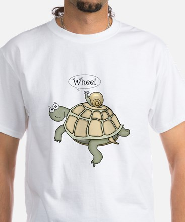 """Turtle and Snail """"Whee!"""" White T-Shirt"""