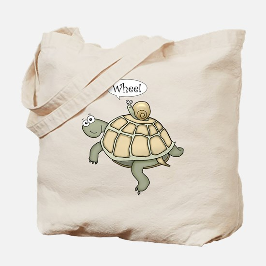 "Turtle and Snail ""Whee!"" Tote Bag"