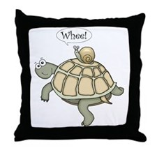 """Turtle and Snail """"Whee!"""" Throw Pillow"""