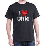 I Love Ohio (Front) Black T-Shirt