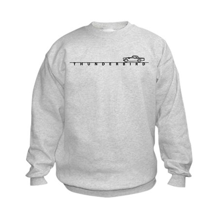 1955 T Bird Top on Script BLK Kids Sweatshirt