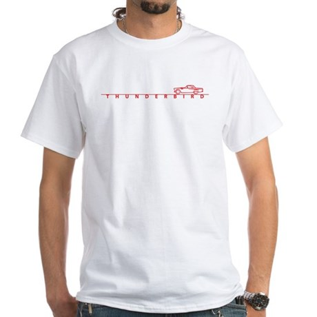 1955 T Bird Top on Script Red White T-Shirt