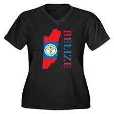 Map Of Belize Women's Plus Size V-Neck Dark T-Shir