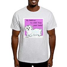 Maltese is Cuter Ash Grey T-Shirt