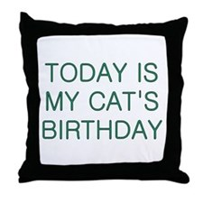 Cat's Birthday Throw Pillow