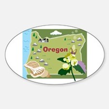 Oregon Map Oval Decal