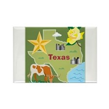 Texas Map Rectangle Magnet