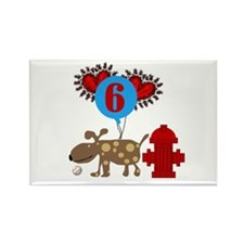 Puppy 6th Birthday Rectangle Magnet