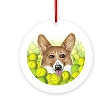 """""""Trigger"""" - Tennis Corgi Ornament (Round"""