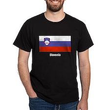 Slovenia Slovenian Flag (Front) Black T-Shirt