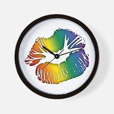 Big Rainbow Lips Wall Clock