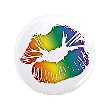 "Big Rainbow Lips 3.5"" Button"
