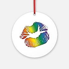 Big Rainbow Lips Round Ornament