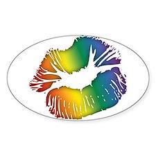 Big Rainbow Lips Oval Decal
