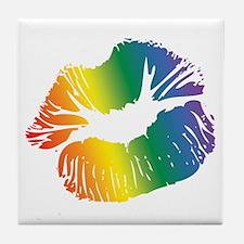 Big Rainbow Lips Tile Coaster