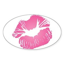 Big Pink Lips Oval Decal