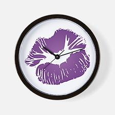 Big Purple Lips Wall Clock