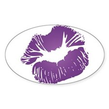 Big Purple Lips Oval Decal