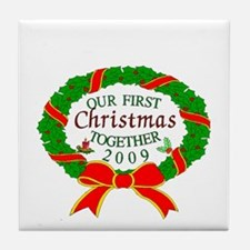 first Christmas together Tile Coaster