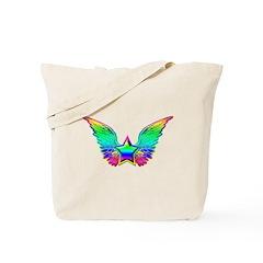 Rainbow winged star Tote Bag