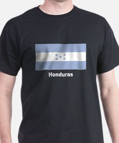 Honduras Flag (Front) Black T-Shirt