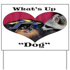 Raccoon, Pomeranian Yard Sign