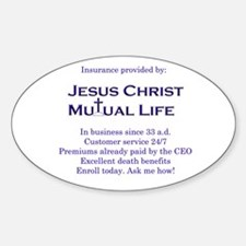 Jesus Christ Mutual Life Oval Decal