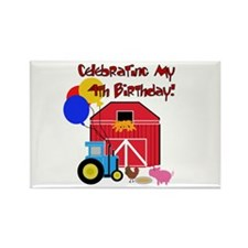 Farm 4th Birthday Rectangle Magnet