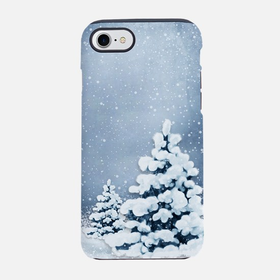 Cute Snowy Pine Trees iPhone 7 Tough Case