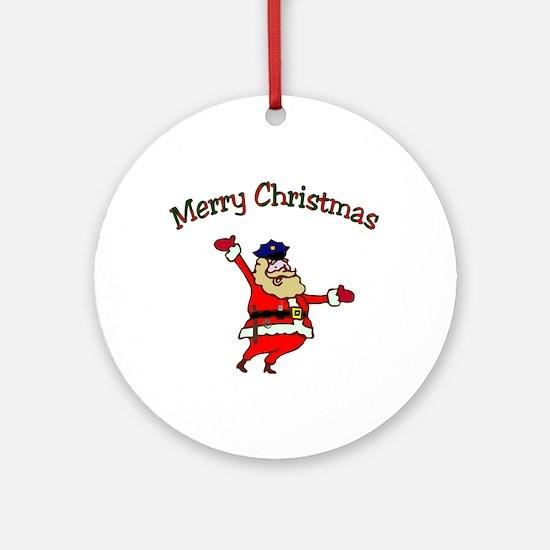 Police Officer Santa Ornament (Round)