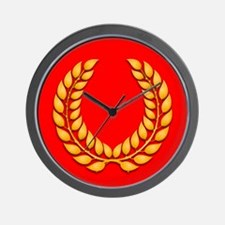 red with gold laurel Wall Clock