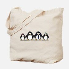 Penguin family with 2 boys Tote Bag