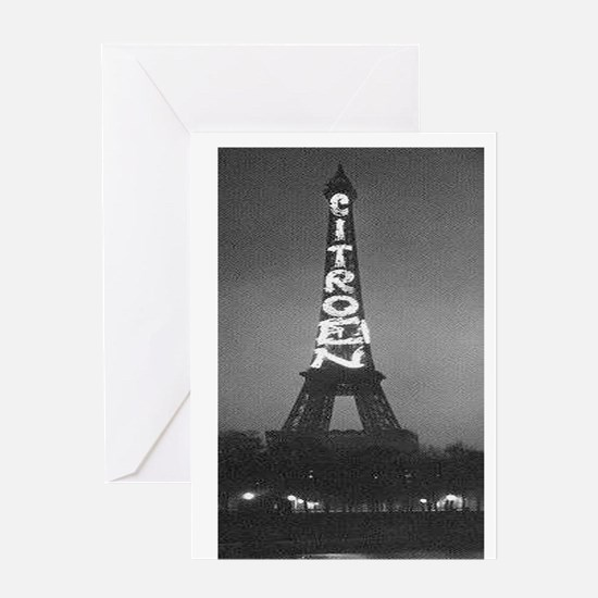 Vintage Citroen Eiffel Tower Greeting Card