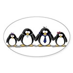 Penguin family with 2 girls Oval Sticker