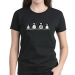 Penguin family with 2 girls Women's Dark T-Shirt