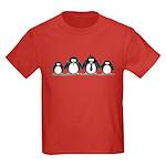 Penguin family with 2 girls Kids Dark T-Shirt