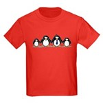 Penguin family with 2 girls Kids Dark T-Shirt