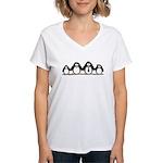 Penguin family with 2 girls Women's V-Neck T-Shirt