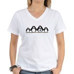 Penguin family with 2 girls Women's V-Neck T-Shirt