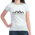 Penguin family with 2 girls Jr. Ringer T-Shirt