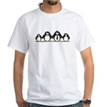 Penguin family with 2 girls White T-Shirt