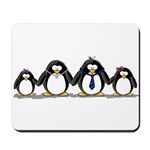 Penguin family with 2 girls Mousepad