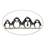 Penguin Family 2 Oval Sticker