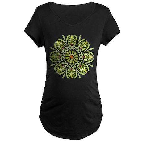 Green Mandala Maternity Dark T-Shirt