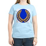Blue with gold laurel Women's Pink T-Shirt