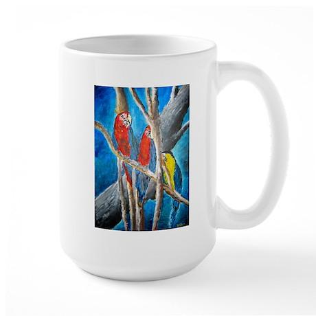 parrot oil painting art gift Large Mug