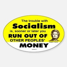 Thatcher Socialism Quote Oval Decal