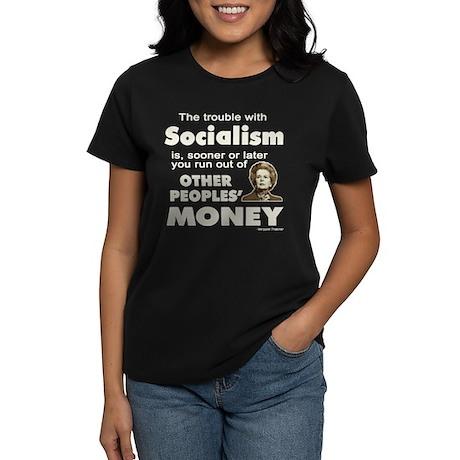 Thatcher Socialism Quote Women's Dark T-Shirt