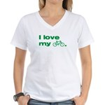 I love my bike (with image) Women's V-Neck T-Shirt