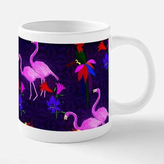 Pink Flamingos and Tropical 20 oz Ceramic Mega Mug